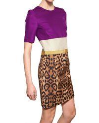 Giambattista Valli - Multicolor Cotton Gabardine & Shantung Silk Dress - Lyst