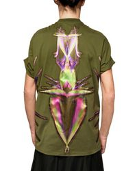 Givenchy - Green Birds Satin Patch Cotton Jersey T-shirt for Men - Lyst