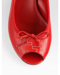 Gucci | Black Soho Leather Peep Toe Wedge Pumps | Lyst