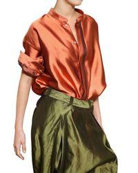 Haider Ackermann - Orange Oversize Silk Shantung Shirt - Lyst