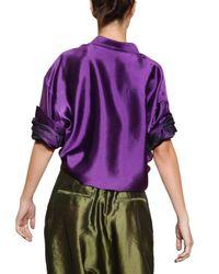 Haider Ackermann | Purple Oversize Silk Shantung Shirt | Lyst