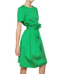 Jil Sander | Green Stretch Cotton Poplin Dress | Lyst