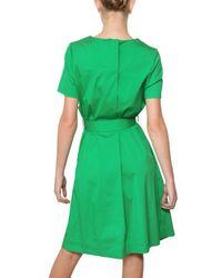 Jil Sander Green Stretch Cotton Poplin Dress