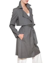 Jil Sander | Gray Stretch Cool Wool Trench Coat | Lyst