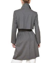 Jil Sander Gray Stretch Cool Wool Trench Coat
