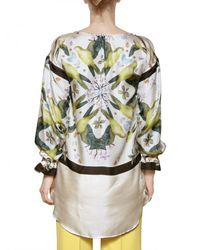 Jo No Fui White Foulard Printed Satin Twill Shirt