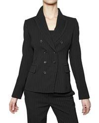John Richmond | Black Pin Striped Merino Wool Flannel Jacket | Lyst
