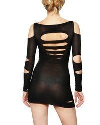 Just Cavalli Black Cut Out Knit Stretch Dress
