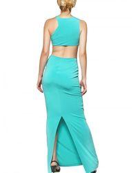 Just Cavalli Blue Cut Out Crepe Jersey Long Dress