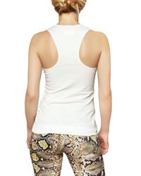 Just Cavalli White Beaded with Logo Jersey Tank Top