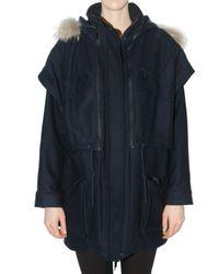 Kai-aakmann | Blue Removable Vest Wool Cloth Coat | Lyst