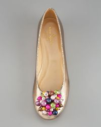 kate spade new york - Natural Abbie Beaded Ballerina Flat - Lyst