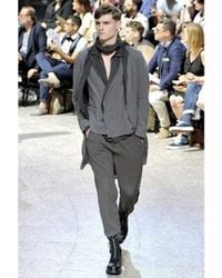 Lanvin   Gray Cotton Chiffon and Cupro Trousers for Men   Lyst