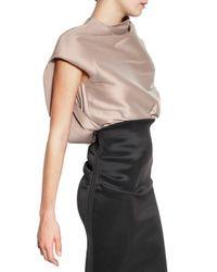 Lanvin Natural Stretch Silk Organza Top