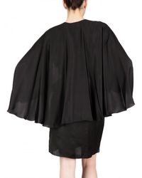 Lanvin | Black Washed Satin Matt Cape Dress | Lyst