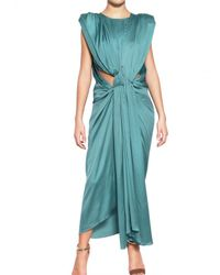 Lanvin Blue Washed Fluid Silk Satin Dress