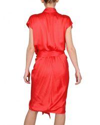 Lanvin Orange Draped Washed Silk Satin Dress