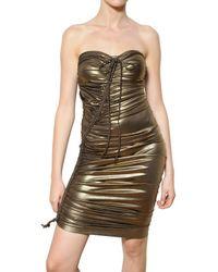 Lanvin Metallic Lurex Gathered Lycra Dress