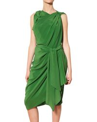 Lanvin | Green Draped Silk Satin Dress | Lyst