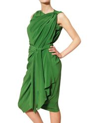 Lanvin Green Draped Silk Satin Dress