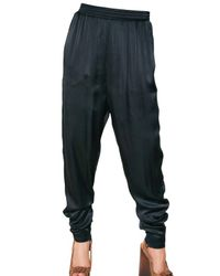 Lanvin Blue Washed Silk Satin Trousers