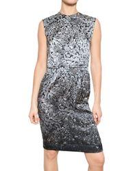 Lanvin Gray Diamond Print Charmeuse Dress