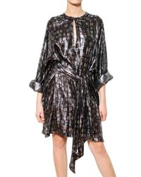 Lanvin Multicolor Diamond Print Lurex Silk Georgette Dress