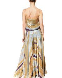 Lanvin Multicolor Printed Lurex Silk Georgette Long Dress