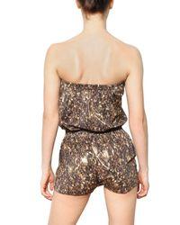 Lanvin Metallic Sequin Print Lycra Jumpsuit