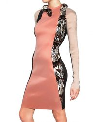 Lanvin Multicolor Swarovski Crystal Snake On Silk Lycra Dress
