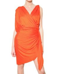 Lanvin | Orange Draped Viscose Jersey Dress | Lyst