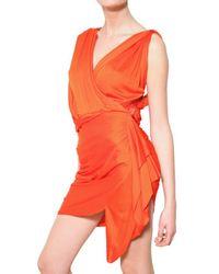 Lanvin Orange Draped Viscose Jersey Dress