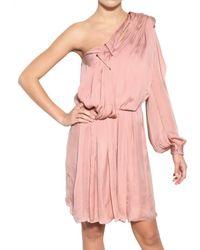 Lanvin Pink Washed Fluid Silk Satin Dress