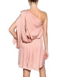 Lanvin | Pink Washed Fluid Silk Satin Dress | Lyst