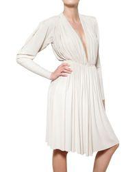 Lanvin | White Pleated Techno Jersey Empire Cut Dress | Lyst