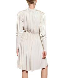 Lanvin White Pleated Techno Jersey Empire Cut Dress