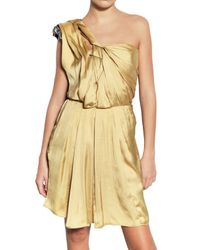 Lanvin Yellow Swarovski Techno Washed Satin Dress