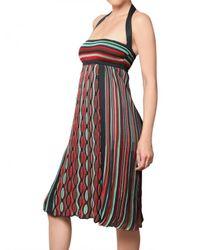 M Missoni Multicolor Lace Style Knit Halterneck Dress