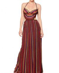 M Missoni - Multicolor Striped Lurex Knit Cut Out Ba Long Dress - Lyst