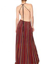 M Missoni Multicolor Striped Lurex Knit Cut Out Ba Long Dress