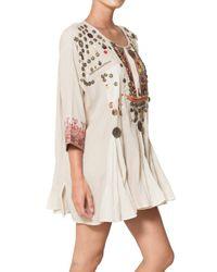 Mes Demoiselles Natural Folk Embroidered Cotton Gauze Dress