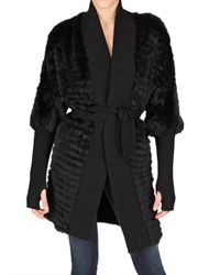 Meteo by Yves Salomon | Black Ribbed Wool Trim Racoon Fur Coat | Lyst