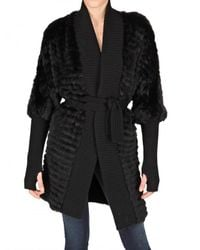 Meteo by Yves Salomon - Black Ribbed Wool Trim Racoon Fur Coat - Lyst