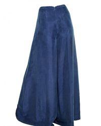 MICHAEL Michael Kors | Blue Silk Habotai Super Wide Leg Trousers | Lyst