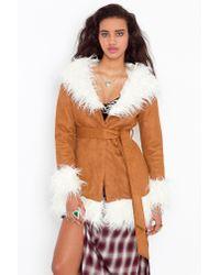 Nasty Gal | Natural Bridget Shearling Coat | Lyst