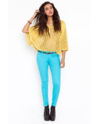 Nasty Gal - Blue Cropped Skinny Jeans - Lyst