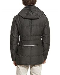 Peuterey - Gray Shearling Collar Waxed Wool Down Jacket for Men - Lyst