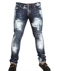Philipp Plein | Blue 18cm Distressed Painted Denim Jeans for Men | Lyst