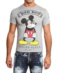 Philipp Plein | Gray Mickey Mouse Swarovski Jersey T-shirt for Men | Lyst