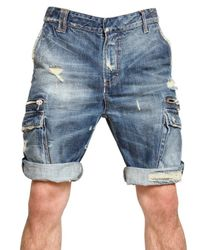 Balmain | Blue Destroyed Washed Denim Shorts for Men | Lyst